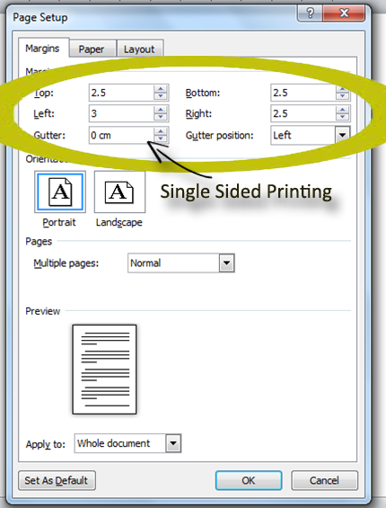 Single Sided printing margins